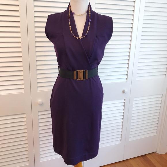 507096486 Gucci Dresses | Violet Wool Belted Sheath Dress | Poshmark